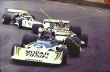 "MARCH 75A Bruce Allison leads Vilotta & Mather Mallory Park Aurora F1 1978 10x7"" photo"